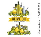 banners with hand drawn olives  ... | Shutterstock .eps vector #1044532351