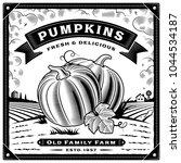 retro pumpkin harvest label... | Shutterstock .eps vector #1044534187