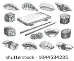 set sketch sushi roll  wooden... | Shutterstock .eps vector #1044534235