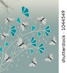 butterflies with fauna on sage... | Shutterstock . vector #1044549