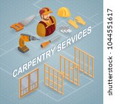 carpentry services. isometric... | Shutterstock .eps vector #1044551617