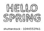 hello spring lettering. outline ... | Shutterstock .eps vector #1044552961