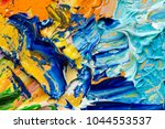 artist's palette with mixed oil ... | Shutterstock . vector #1044553537