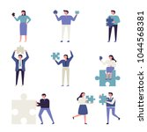 people hold blue puzzle. vector ... | Shutterstock .eps vector #1044568381