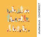 happy llama with cactus in a... | Shutterstock . vector #1044580027