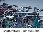 chaotic bicycle bike parking in ... | Shutterstock . vector #1044583285