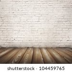 brown floor and painted brick wall - stock photo