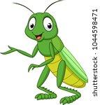cartoon grasshopper isolated on ... | Shutterstock .eps vector #1044598471
