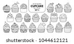 set of isolated cupcake in 21... | Shutterstock .eps vector #1044612121