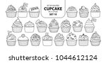 set of isolated cupcake in 21... | Shutterstock .eps vector #1044612124