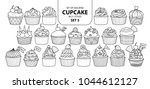 set of isolated cupcake in 21... | Shutterstock .eps vector #1044612127