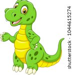 cartoon funny green dinosaur  | Shutterstock .eps vector #1044615274