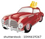 red old car with gold crown | Shutterstock . vector #1044619267
