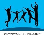 jumping peoples shot | Shutterstock .eps vector #1044620824