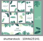 green tropical greeting card... | Shutterstock .eps vector #1044625141
