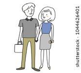 cute couple walking hand in... | Shutterstock .eps vector #1044626401