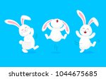 white rabbit jumping and... | Shutterstock .eps vector #1044675685