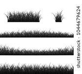 grass borders set. black grass... | Shutterstock .eps vector #1044679624