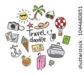 set of travel icon in doodle... | Shutterstock .eps vector #1044680851