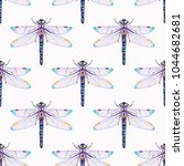 embroidery beautiful dragonfly... | Shutterstock .eps vector #1044682681