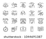 trekking line icon set.... | Shutterstock .eps vector #1044691387