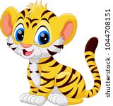 cute baby tiger cartoon  | Shutterstock .eps vector #1044708151