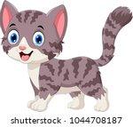 cute grey cat cartoon | Shutterstock .eps vector #1044708187