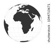 vector earth globe focused on... | Shutterstock .eps vector #1044713671