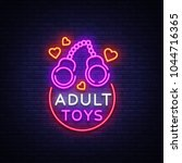 adult toys logo in neon style.... | Shutterstock .eps vector #1044716365