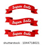 red super sale banners on white ... | Shutterstock .eps vector #1044718021