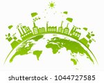 ecology concept with green city ... | Shutterstock .eps vector #1044727585
