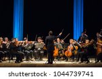 Small photo of DNIPRO, UKRAINE - MARCH 12, 2018: FOUR SEASONS Chamber Orchestra - main conductor Dmitry Logvin perform at the State Drama Theatre.