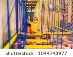 the boy passes the obstacle... | Shutterstock . vector #1044743977