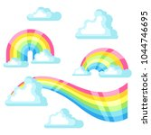 collection of fantasy rainbow... | Shutterstock .eps vector #1044746695