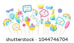 happy birthday photo booth... | Shutterstock .eps vector #1044746704