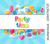 party time. card with unicorn... | Shutterstock .eps vector #1044746725