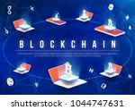 cryptocurrency and blockchain... | Shutterstock .eps vector #1044747631