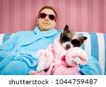 cool funny couple of   poodle... | Shutterstock . vector #1044759487