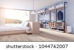 bedroom and dressing room loft... | Shutterstock . vector #1044762007