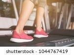 scene in fitness gym. sneaker... | Shutterstock . vector #1044767419