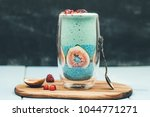 blue spirulina smoothie and... | Shutterstock . vector #1044771271