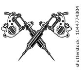 crossed tattoo machines... | Shutterstock .eps vector #1044774304
