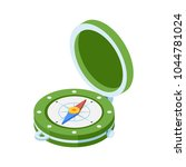green compass isometric icon.... | Shutterstock .eps vector #1044781024