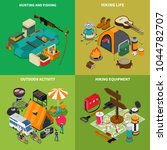 hiking concept icons set with... | Shutterstock .eps vector #1044782707