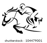 Stock vector show jumping emblem black and white vector outline of horse and jockey 104479001