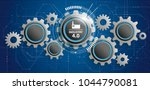 futuristic gear wheels with the ... | Shutterstock .eps vector #1044790081