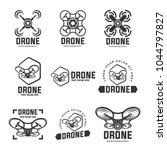 drone logos  badges  emblems... | Shutterstock .eps vector #1044797827