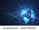 global network connections with ... | Shutterstock .eps vector #1044798169