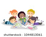 illustration of stickman kids... | Shutterstock .eps vector #1044813061