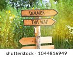 concept  wooden direction sign... | Shutterstock . vector #1044816949